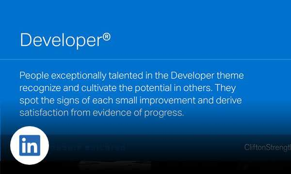 Blue background with text developer people exceptionally talented in the developer theme recognize and cultivate the potential in others.