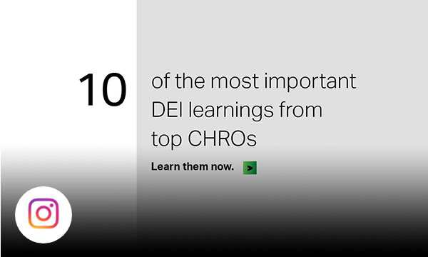 Gray and white background with text 10 of the most important DEI learnings from the top CHROs.