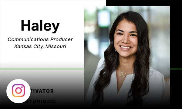Gallup employee with text Haley communications producer 1 activator 2 futuristic 3 connectedness 4 individualization 5 includer.