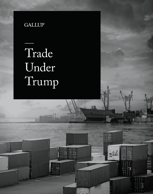The cover of the Gallup briefing Trade Under Trump features a coastal scene with an overcast sky, ships and crates of cargo on the dock.